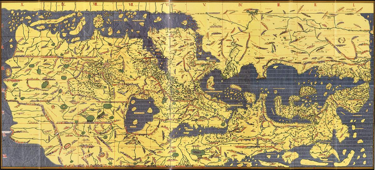 Tabula Rogeriana, 1154. Map by Muhammed al-Idrisi. Image courtesy of Wikimedia Commons. Image is in the public domain.