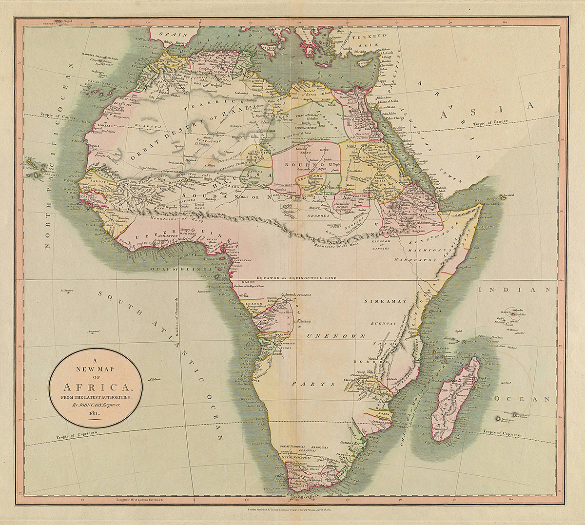 A New Map of Africa, the Latest Authorities, 1811. Engraving by John Cary. Originally published in Cary's New Universal Atlas, London, 1808. Courtesy of the Thomas Bassett Personal Collection, http://imagesearchnew.library.illinois.edu/cdm/singleitem/collection/africanmaps/id/2018/rec/1.