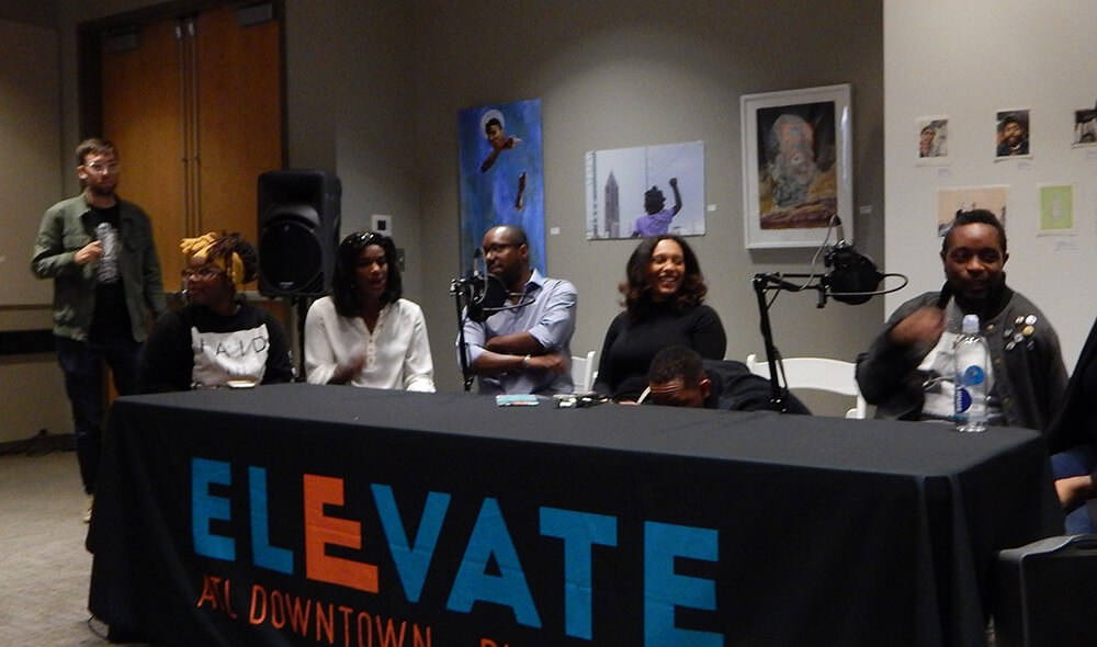 The LiFT Team (from left to right: Jordan Seriff, Shady Patterson, Miriam Denard, Clint Fluker, and Nasim Mahboubi Fluker) at the live podcast recording with the Digital Good Times crew, Gallery 72, Atlanta, Georgia, October 18, 2015. Photograph by LehBo. Courtesy of LiFT Art Salon.