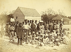 Slaves of the Rebel General Thomas F. Drayton, Hilton Head, South Carolina, 1862. Photograph by Henry P. Moore. Courtesy of the Library of Congress, Prints and Photographs Division, LC-DIG-ppmsca-04324.