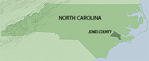 Location of Jones County in North Carolina. Map by Southern Spaces, 2015.