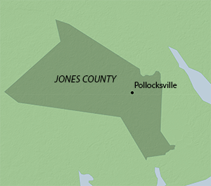 Location of Pollocksville in Jones County, North Carolina. Map by Southern Spaces, 2015.