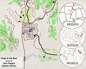 Having selected Flags in the Dust, a user can click Show Locations from the map controls to see the various locations (both inside and outside Yoknapatawpha) that appear in the novel. Clicking on any of the map's icons brings up additional information. Screenshot by Stephen Railton, 2014. Courtesy of Digital Yoknapatawpha Project.