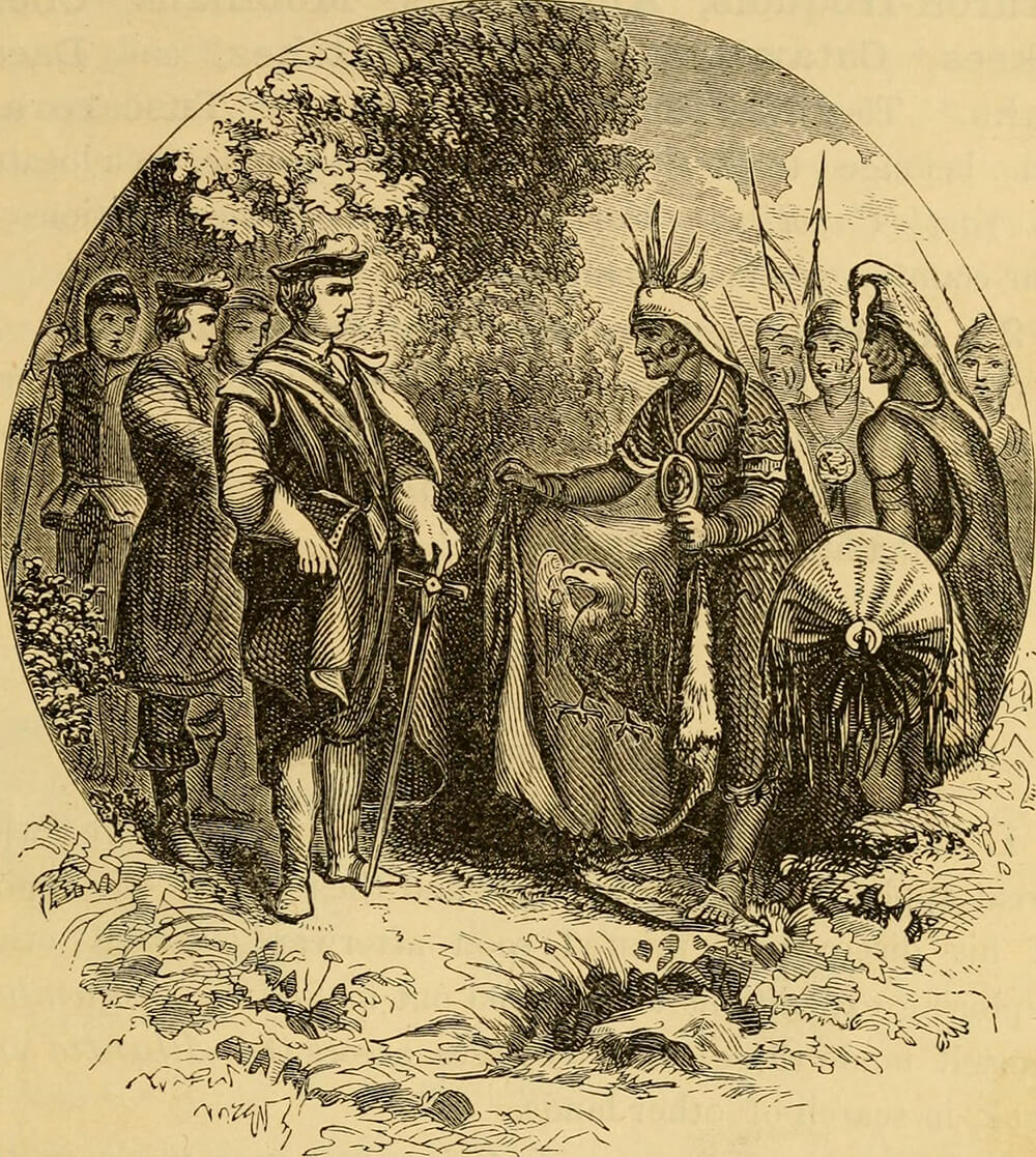 Meeting of White Men and Indians, General Oglethorpe meeting Creek Nation. Print originally published in John Lossing's An Outline History of the United States (Sheldon & Co, 1881), p. 19. Image uploaded by Flickr user Internet Archive Book Images. Image is in public domain.