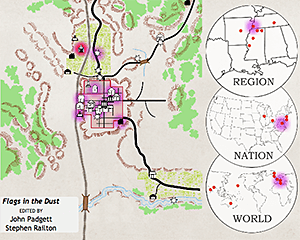 "The user has begun the ""Play Narrative"" animation for Flags in the Dust, and has reached page 75. Events can also be viewed in chronological order. The area highlighted in red indicates the current Event. Locations and dates in purple indicate the places and times that the narrative has moved through already (darker purple indicates multiple returns to a specific time). Screenshot by Stephen Railton, 2014. Courtesy of Digital Yoknapatawpha Project."
