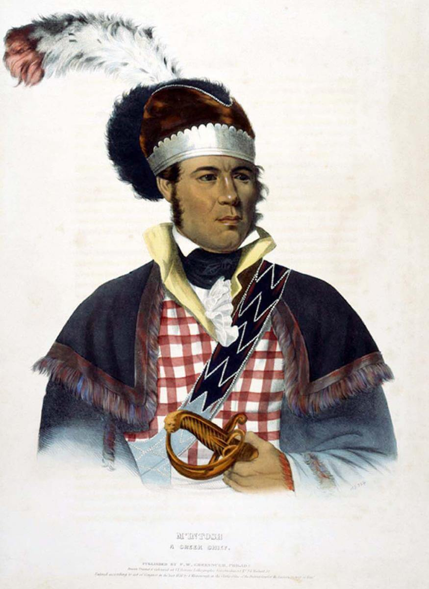 McIntosh: A Creek Chief, 1838. Painting by Charles Bird King. Courtesy of Wikimedia Commons. Image is in public domain.