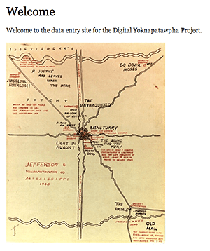 Welcome page for the data entry site featuring a hand-drawn map of Jefferson. Screenshot by Southern Spaces, 2014. Courtesy of Digital Yoknapatawpha Project.