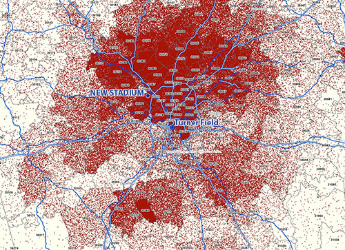 Distribution of Atlanta Braves fanbase and location of Turner Field and proposed new stadium, November 2013. Map courtesy of the Atlanta Braves.