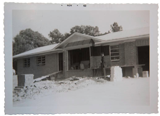 The home of Alma and Albert Hayward in the Woodlawn Heights subdivision of Collier Heights, under construction in 1962. Historic image courtesy of the Haywards.