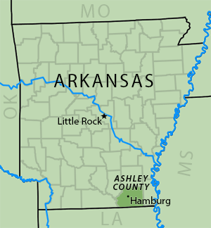 Map of the Ark-La-Miss Borders. The Martins grew up in the town of Hamburg in Ashley County, Arkansas. Map by Southern Spaces.
