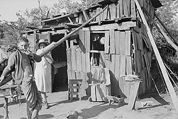 Arkansas squatter's home, along Route 70, 1935. Photograph by Ben Shahn. Courtesy of the Library of Congress, Prints and Photographs Division, LC-USF33- 006029-M1 [P&P]. Despite the geographical and cultural variety found in the state, many common stereotypes about Arkansas treat all Arkansas natives as derivatives of the squatter.