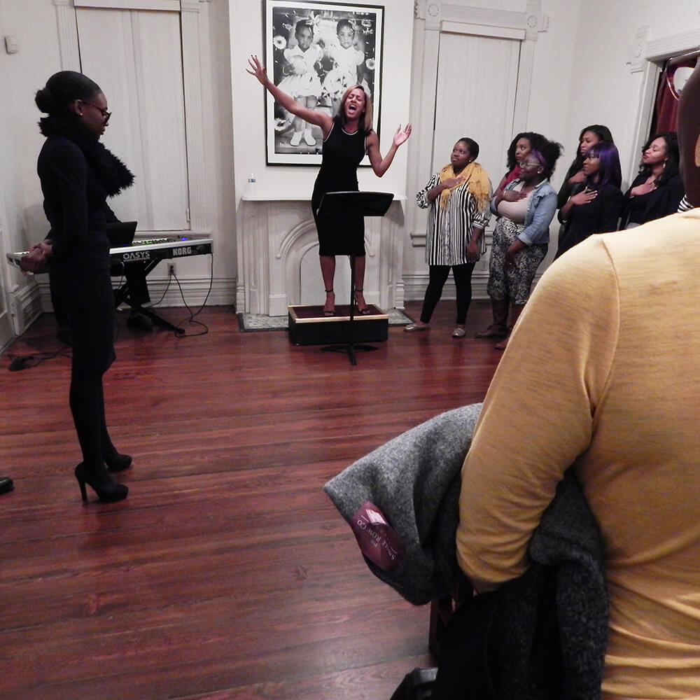 """Karrah 4 Prez"" performed at the Hammonds House Museum, Atlanta, Georgia, November 22, 2015. Photograph by Jordan Streiff. Courtesy of LiFT Art Salon."