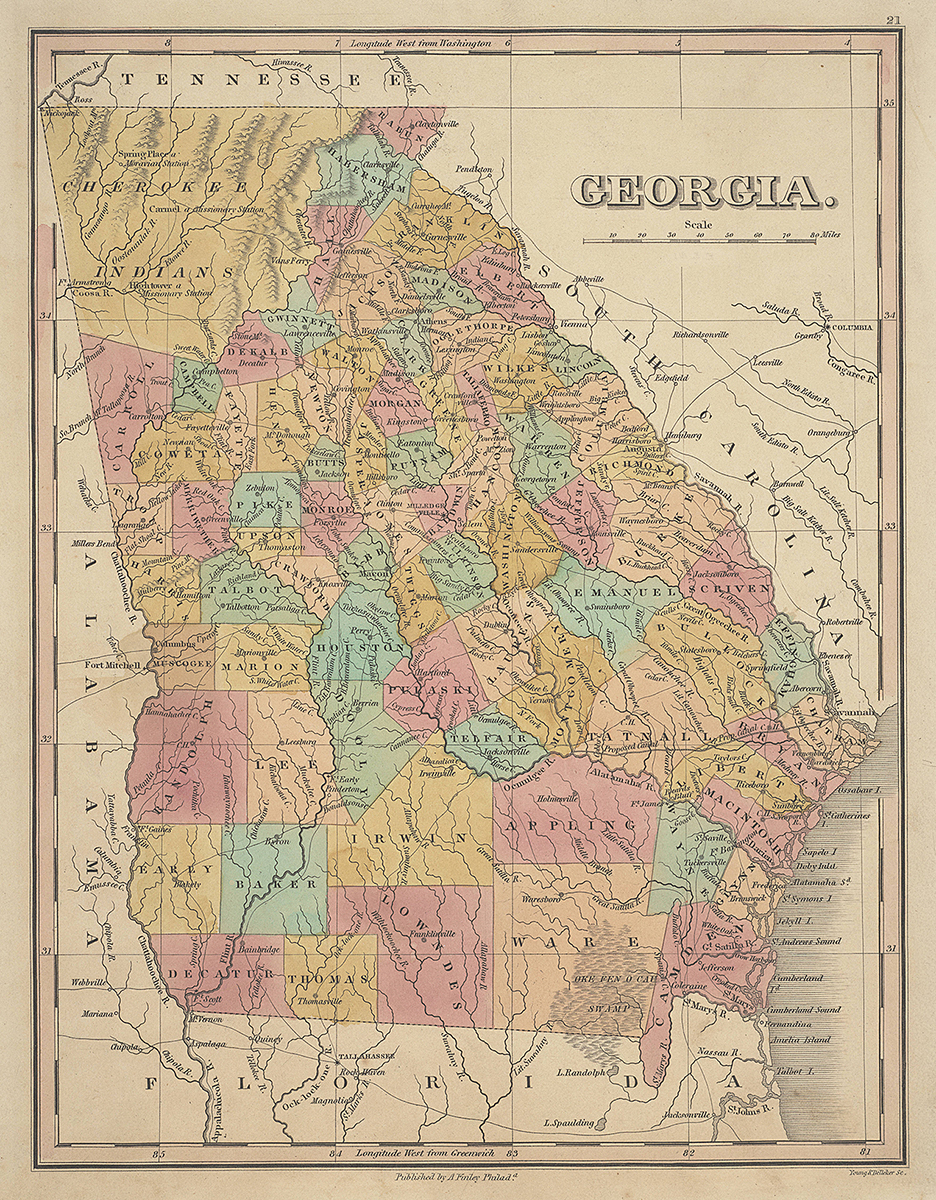 Georgia, 1831. Map by Young & Delleker, Sc. Published by A. Finley. Courtesy of the Historic Maps collection, Georgia Archives, University System of Georgia.