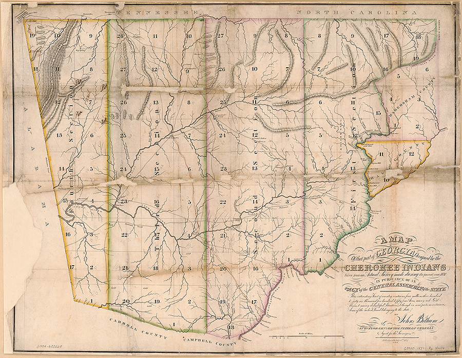 A map of that part of Georgia occupied by the Cherokee Indians, 1831. Map by John Bethune. Courtesy of Library of Congress Geography and Map Division, lccn.loc.gov/2004633028.