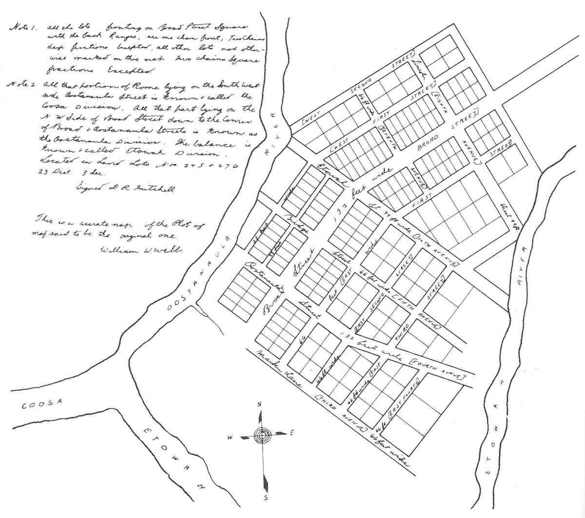 Copy of Sketch for the Layout of Rome, Georgia, 1834. Drawing by Daniel R. Mitchell. Courtesy of Rome Area History Museum.