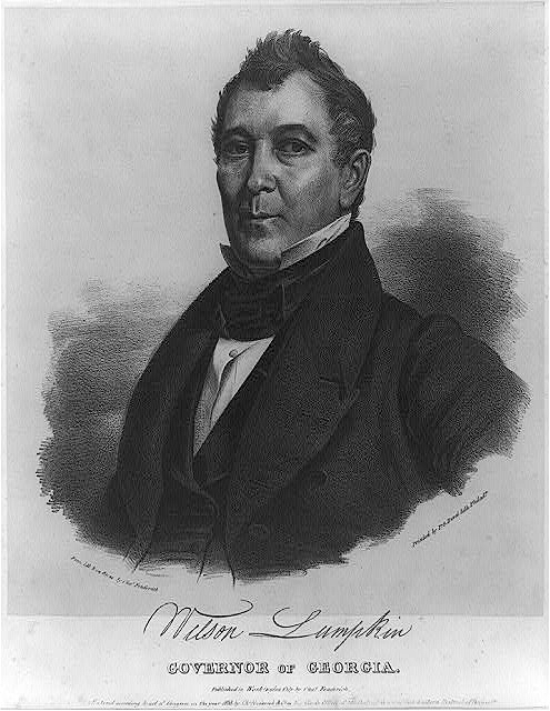 Wilson Lumpkin, Governor of Georgia, ca 1838. Print by unknown artist. Courtesy of the Library of Congress Prints and Photographs Division, loc.gov/pictures/resource/cph.3a17596/.