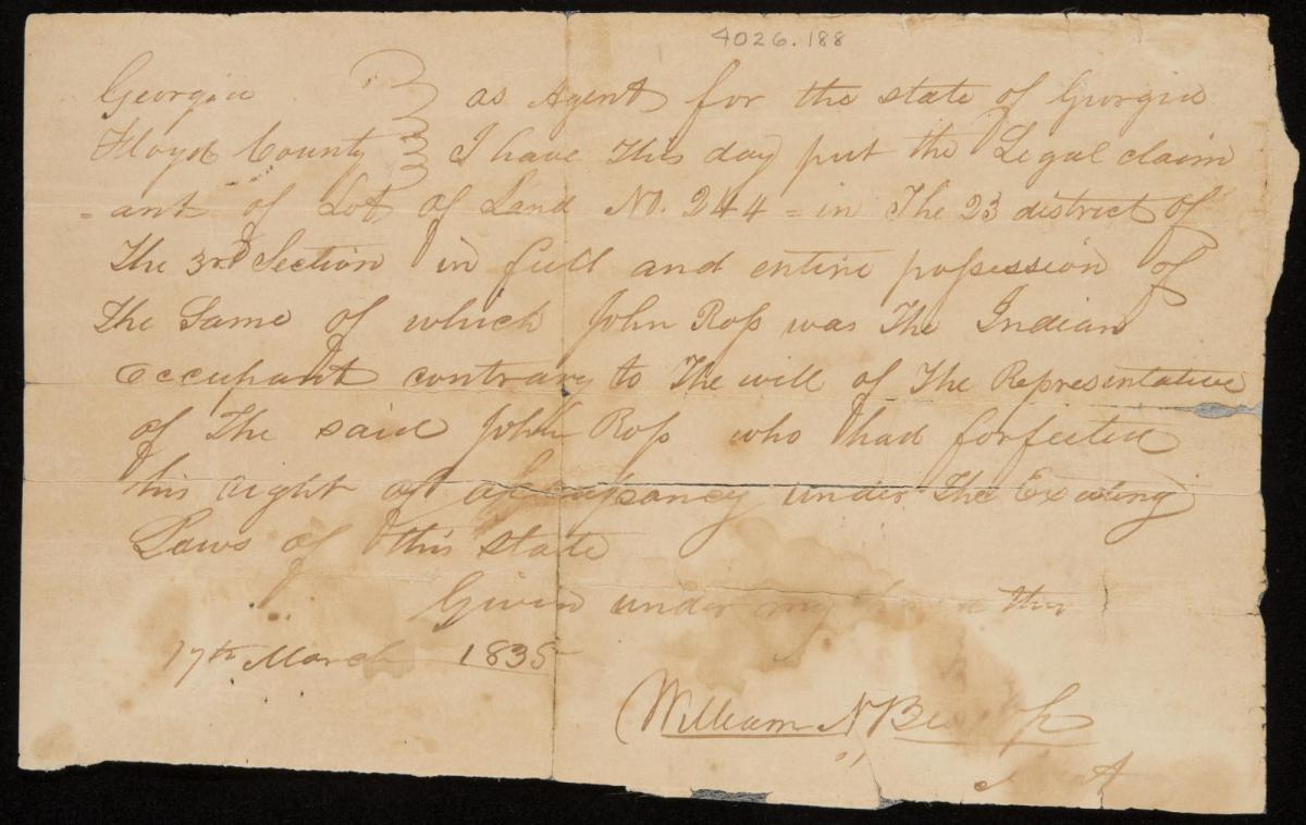 Claim by William N. Bishop for Land Owned by Chief John Ross, March 17, 1835. Courtesy of the Gilcrease Museum, Tulsa, Oklahoma.