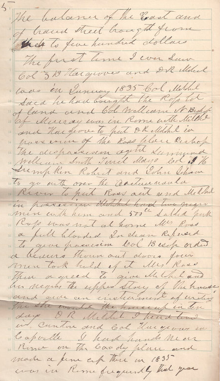 Wesley Shropshire's eyewitness account of the removal of Quatie Ross, January 1835, Rome, Georgia. Written December 1, 1891. Transcription by Wesley Shropshire. Courtesy of the Rome Area History Museum.