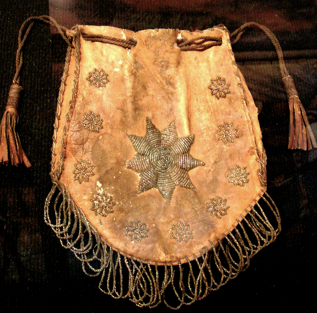 Cherokee purse, pre-1840, made by a student at the Moravian Mission School, James Vann plantation, Georgia. Courtesy of the Georgia Department of Natural Resources, Chief Vann House Historic Site.