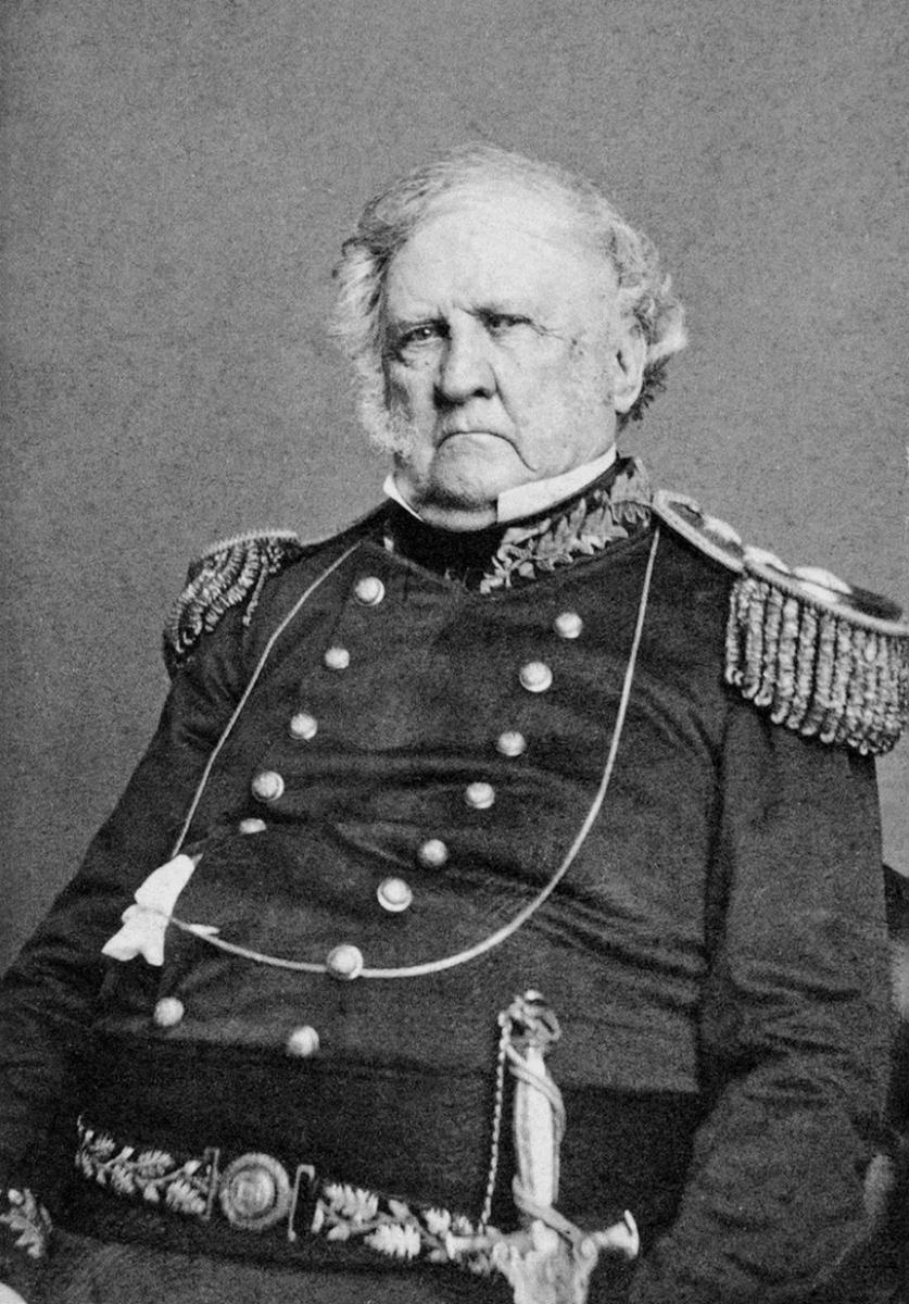 Winfield Scott, West Point, New York, June 10, 1862. Portrait by Charles D. Fredricks & Company. Courtesy of Wikimedia Commons. Image is in public domain.