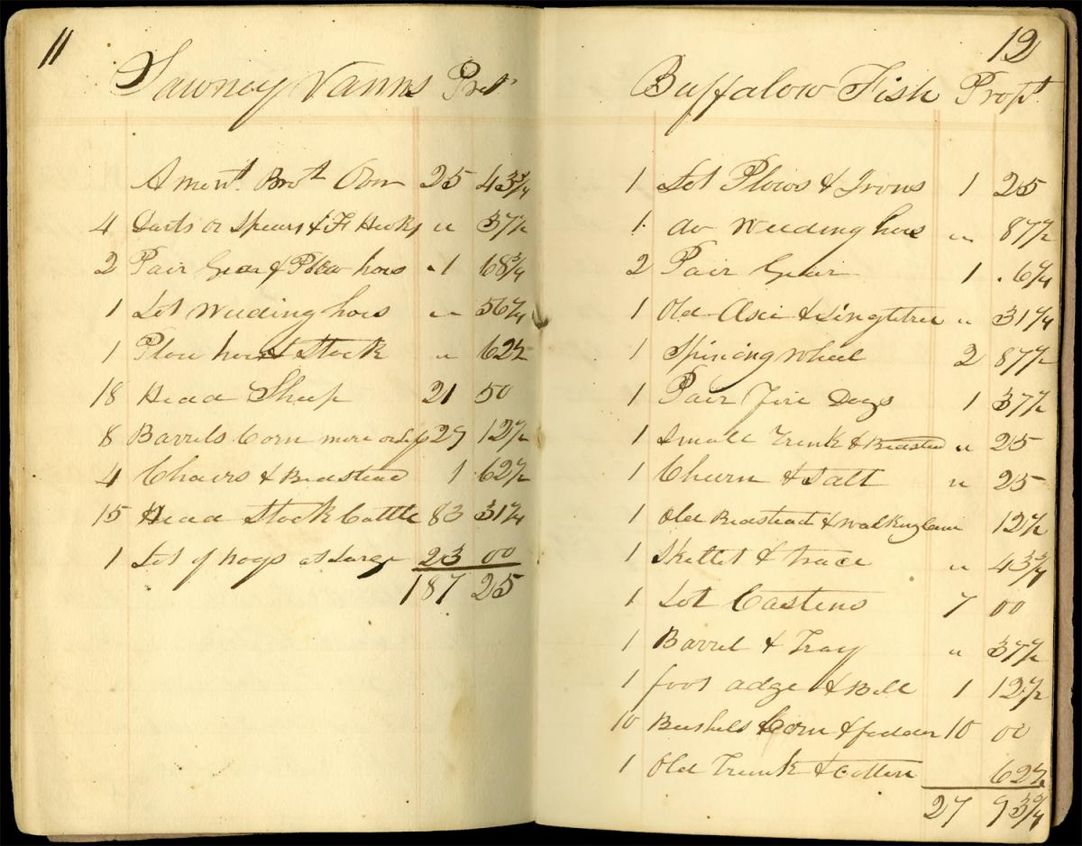 Pages from Inventory and Sale of property belonging to the Indians in Floyd County, 1838. Record by Harvey Dan Abrams. Courtesy of the Digital Library of Georgia, Georgia Historical Society.