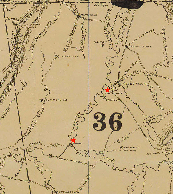 """Detail of Map of the former territorial limits of the Cherokee """"Nation of"""" Indians, 1884. Map by Charles C. Royce. Published by Smithsonian Institution Bureau of Ethnology. Courtesy of the North Carolina Maps collection, Carolina Digital Library and Archives, University of North Carolina at Chapel Hill. Red stars added to highlight locations of Rome and New Echota."""