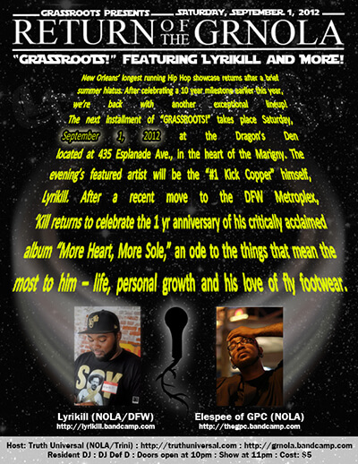 GRASSROOTS! flyer advertising September 1, 2012 show with Lyrikill and Elespee.