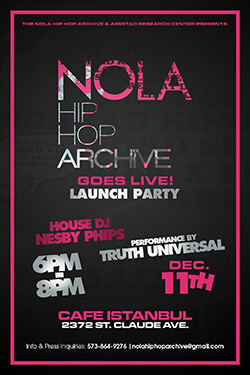 NOLA Hip-hop and Bounce Archive launch party poster, Holly Hobbs, 2014.