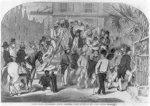 Slave sale, Charleston, South Carolina, 1856. Sketch by Eyre Crowe. Courtesy of the Library of Congress Prints and Photographs Division, loc.gov/item/2006687271.
