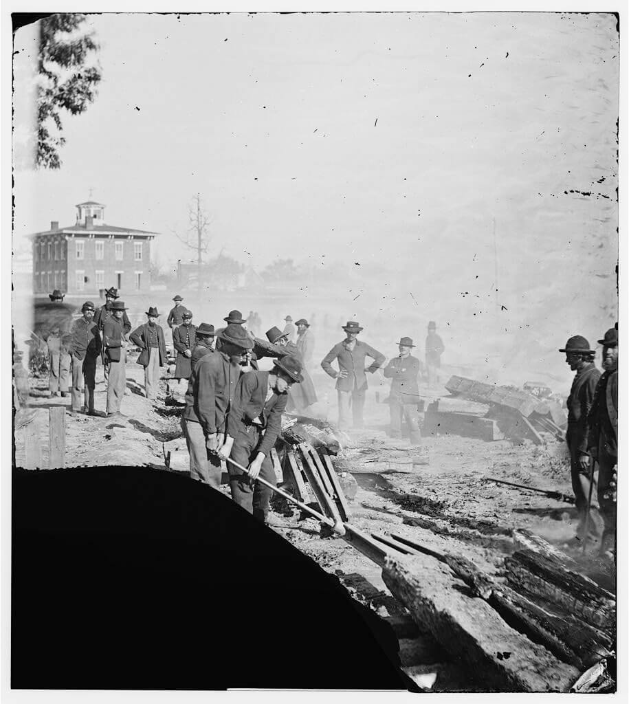 Sherman's men destroying railroad, Atlanta, Georgia, 1864. Photograph by George N. Barnard. Courtesy of the Library of Congress Prints and Photographs Division, loc.gov/item/cwp2003005432/PP.