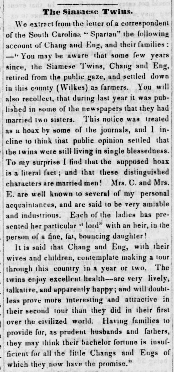 The Siamese Twins, Jeffersonian Republic, Stroudsburg, Pennsylvania, November 21, 1844. Excerpt from newspaper article by unknown author. Courtesy of Library of Congress, Chronicling America: Historic American Newspapers.