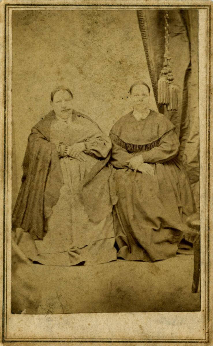 Adelaide Bunker and Sarah Bunker, ca. 1860–1870. Photograph by J. H. Blakemore. Photograph courtesy of the North Carolina Collection Photographic Archives, Louis Round Wilson Special Collections Library, University of North Carolina at Chapel Hill.