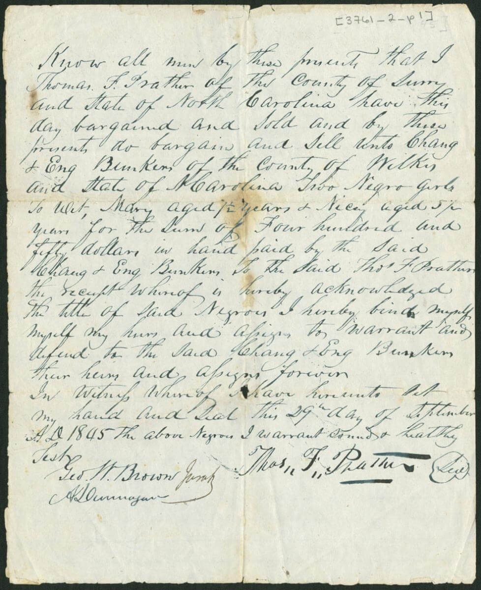 Bill of sale for two slaves sold to Chang and Eng Bunker, Surry County, North Carolina, September 29, 1845. Created by Thomas F. Prather. Courtesy of the Southern Historical Collection, Louis Round Wilson Special Collections Library, University of North Carolina at Chapel Hill.