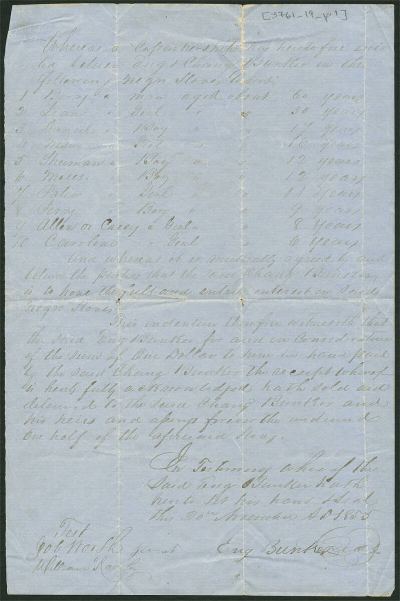 Bill of sale for ten slaves sold by Chang and Eng Bunker, Surry County, North Carolina, November 20, 1855. Created by Chang and Eng Bunker. Courtesy of the Southern Historical Collection, Louis Round Wilson Special Collections Library, University of North Carolina at Chapel Hill.