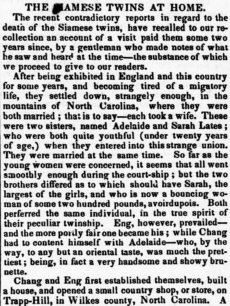 The Siamese Twins at Home, North Carolina Standard, Raleigh, North Carolina, October 2, 1850. Newspaper article by unknown creator. Courtesy of Library of Congress, Chronicling America: Historic American Newspapers.