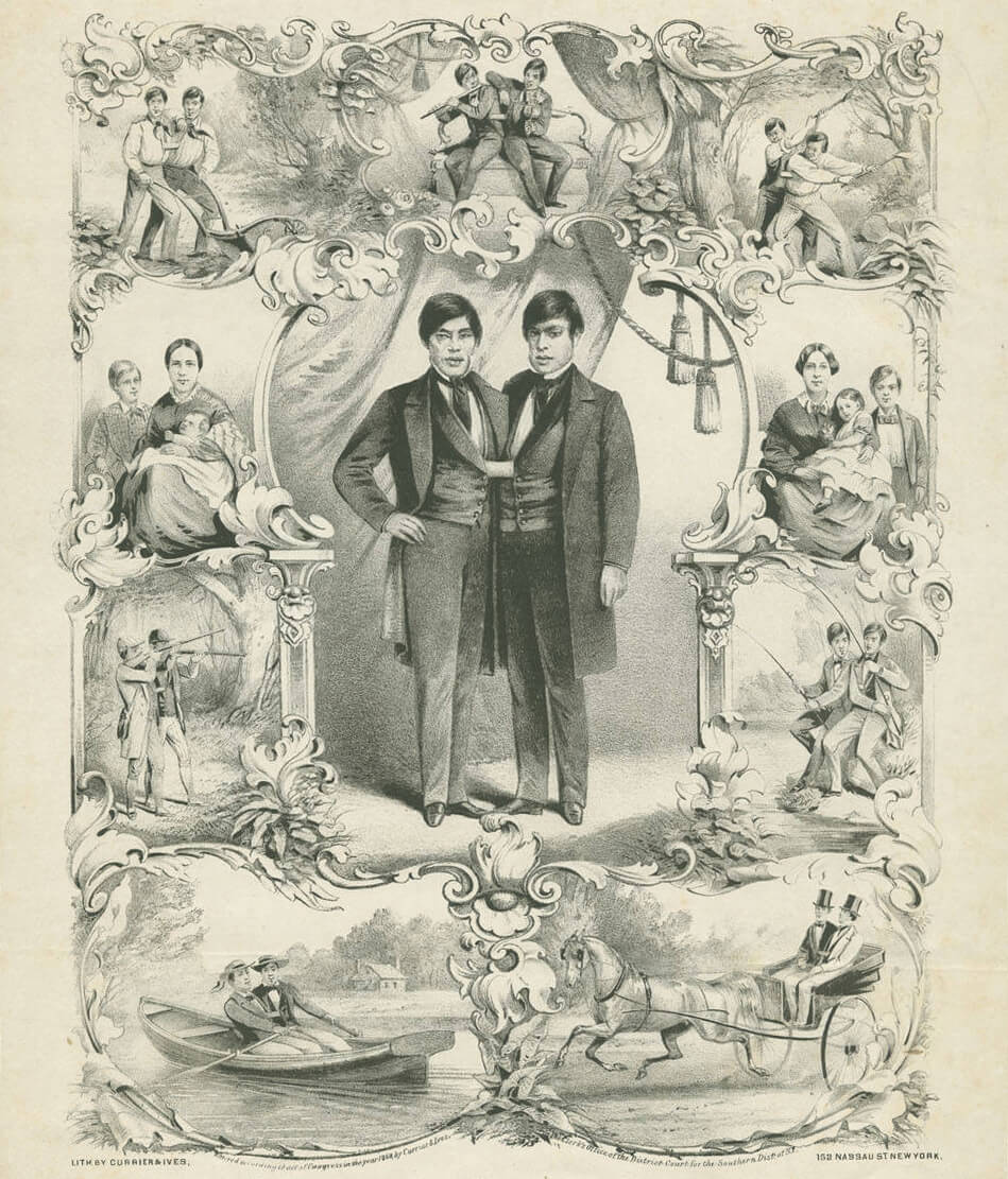 """""""Chang"""" and """"Eng"""" the world renowned united Siamese twins, 1860. Lithograph by Currier & Ives. Courtesy of the Southern Historical Collection, Louis Round Wilson Special Collections Library, University of North Carolina at Chapel Hill."""
