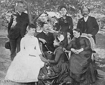 A Garden Party, Boston, Massachusetts, 1885. Standing: Edwin Booth, Fanny N. D. Murfee, James M. Bugbee. Sitting: Mary Noailles Murfree, Thomas Bailey Aldrich, Mrs. Aldrich, Elizabeth Harris Houghton. From Edd Winfield Parks, Charles Egbert Craddock (Chapel Hill: University of North Carolina Press, 1941), 127.