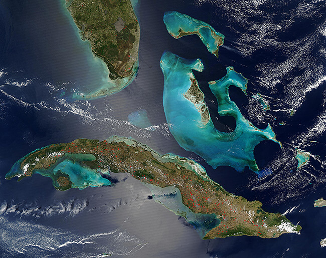 Jeff Schmaltz, Fires in the Bahamas, Florida, and Cuba, 2004.
