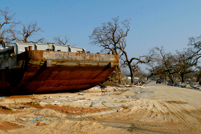 Kate Medley, Barge washed ashore after Hurrican Katrina, Gulfport, Mississippi, 2005.