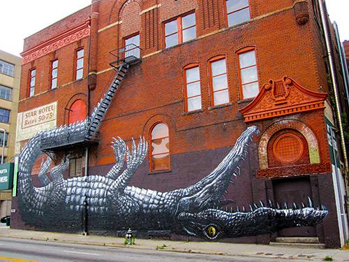 Brandon P. Wicks, ROA's graffiti at 209 Mitchell Street, Atlanta, Georgia, 2012
