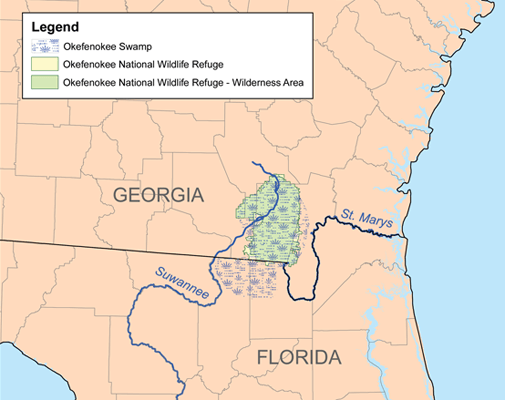 Karl Musser, Map of Okefenokee Swamp, 2007.  Image courtesy of Wikimedia Commons.