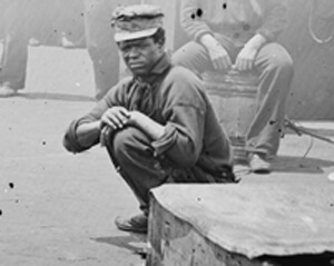 Detail of Siah Carter on the USS Monitor, James River, Virginia, 1862. Courtesy of the Library of Congress.