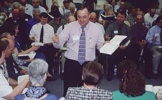 Laurie Kay Sommers, Clarke Lee leads All-Day Sacred Harp Sing, Hoboken, Georgia, 1997.