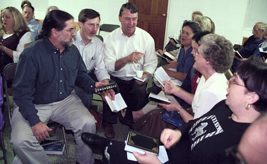 Laurie Kay Sommers, David Lee joins singers from Minnesota, Alabama, and Georgia, Tri-State Sacred Harp Convention, Hoboken, Georgia, 2000.