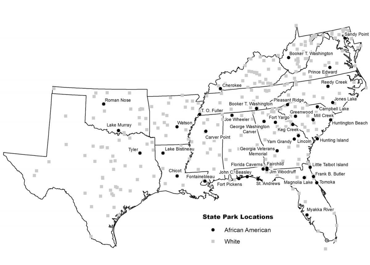 Locations of state parks in the South highlighting facilities made available to African Americans between 1937 and 1962. Map by William O'Brien. Originally published in William O'Brien's Landscapes of Exclusion: State Parks and Jim Crow in the American South (Amherst: University of Massachusetts Press, 2015). Image provided by author.