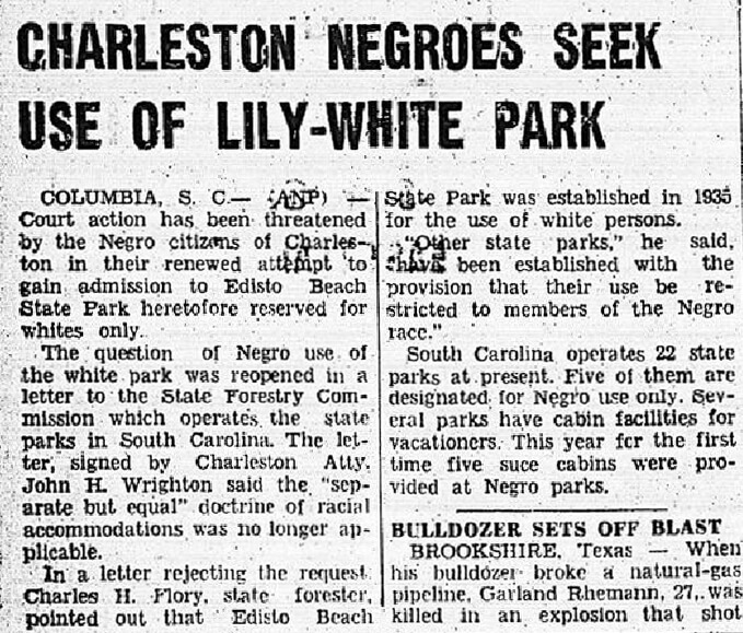 Charleston Negroes Seek Use of Lily-White Park. Published in the Memphis World, May 31, 1955, p. 6. Crossroads to Freedom Digital Archive, Rhodes College.