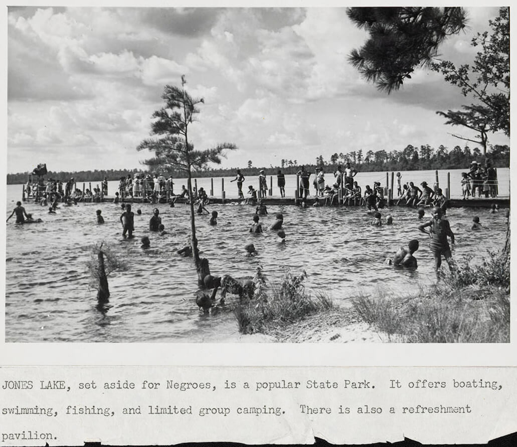 Jones Lake State Park, Bladen County, North Carolina, ca. 1940. Photograph by unknown creator, North Carolina Division of Parks and Recreation. Courtesy of the North Carolina Division of Parks and Recreation Records collection, State Archives of North Carolina, North Carolina Digital Collections, State Library of North Carolina.