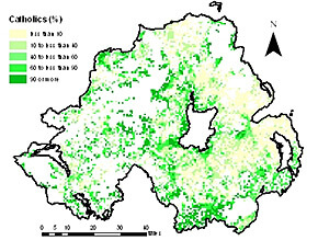 Catholics in Northern Ireland as a percentage of the population 1km grid square, 2001. From Troubled Geographies: A Spatial History of Religion and Society in Ireland, 2013. Courtesy of Niall Cunningham.