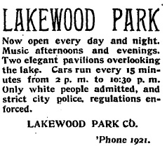 Print advertisement for Lakewood Park, an area park located south of downtown Atlanta. (Clipping from the Atlanta Constitution, April 25, 1896.)