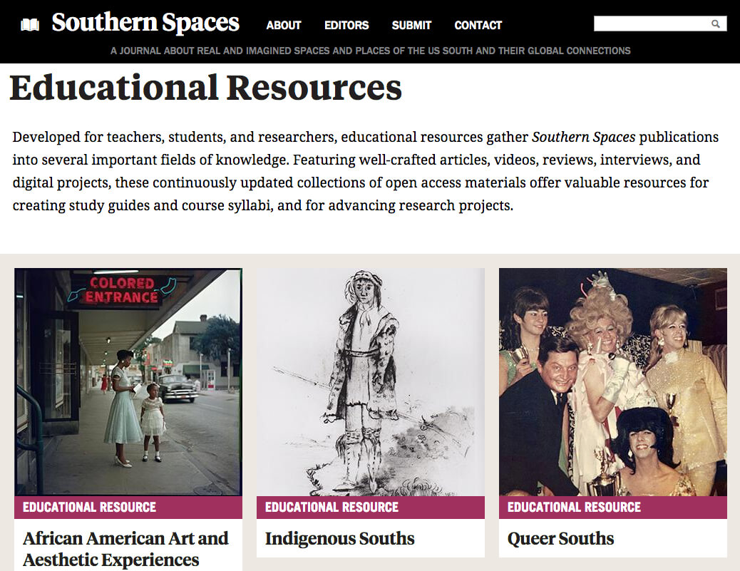 Southern Spaces Educational Resources, December 12, 2017. Screenshot courtesy of Southern Spaces.
